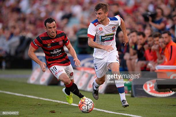 Cameron Watson of the Jets makes a break down the line during the round 12 ALeague match between the Western Sydney Wanderers and Newcastle Jets at...