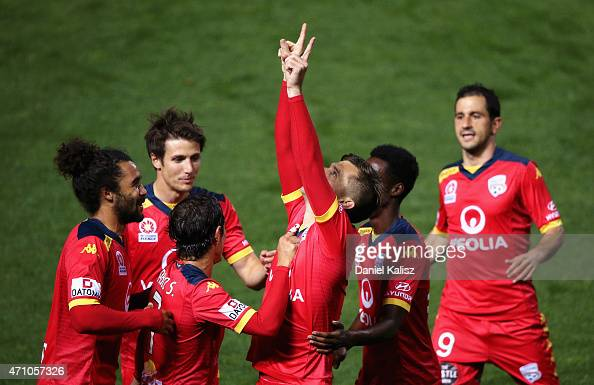 Cameron Watson of United reacts after scoring from a penalty during the round 26 ALeague match between Adelaide United and Melbourne City at Coopers...