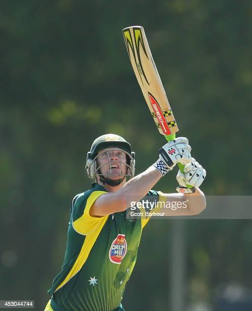Cameron White of Australia 'A' hits a six during the Cricket Australia Quadrangular Series Final match between Australia 'A' and India 'A' at Marrara...