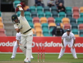 Cameron White of Australia A is bowled out during day one of the Tour Match between Australia A and England at Bellerive Oval on November 17 2010 in...