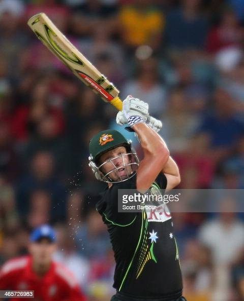 Cameron White of Australia bats during game one of the International Twenty20 series between Australia and England at Blundstone Arena on January 29...
