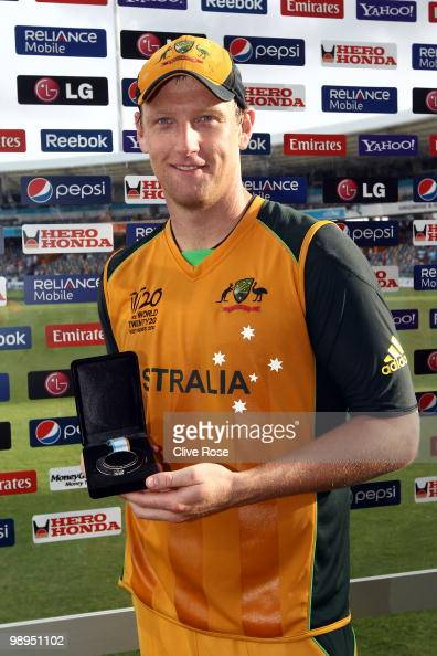 Cameron White of Australia poses with his man of the match award after the ICC World Twenty20 Super Eight match between Sri Lanka and Australia at...