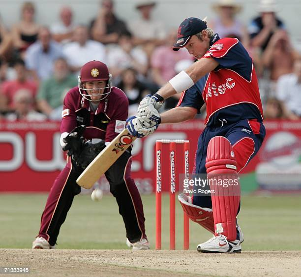 Cameron White of Somerset cuts the ball during the Twenty20 match between Northamptonshire Steelbacks and Somerset Sabres at the County Ground on...
