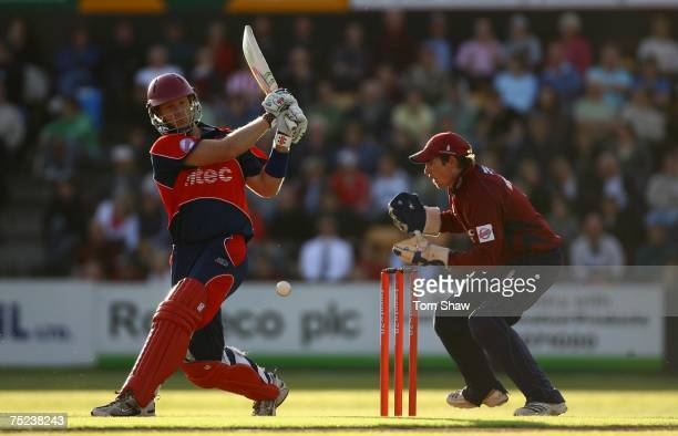 Cameron White of Somerset hits out during the Twenty20 Cup match between Northamptonshire and Somerset at the County Ground on July 6 2007 in...
