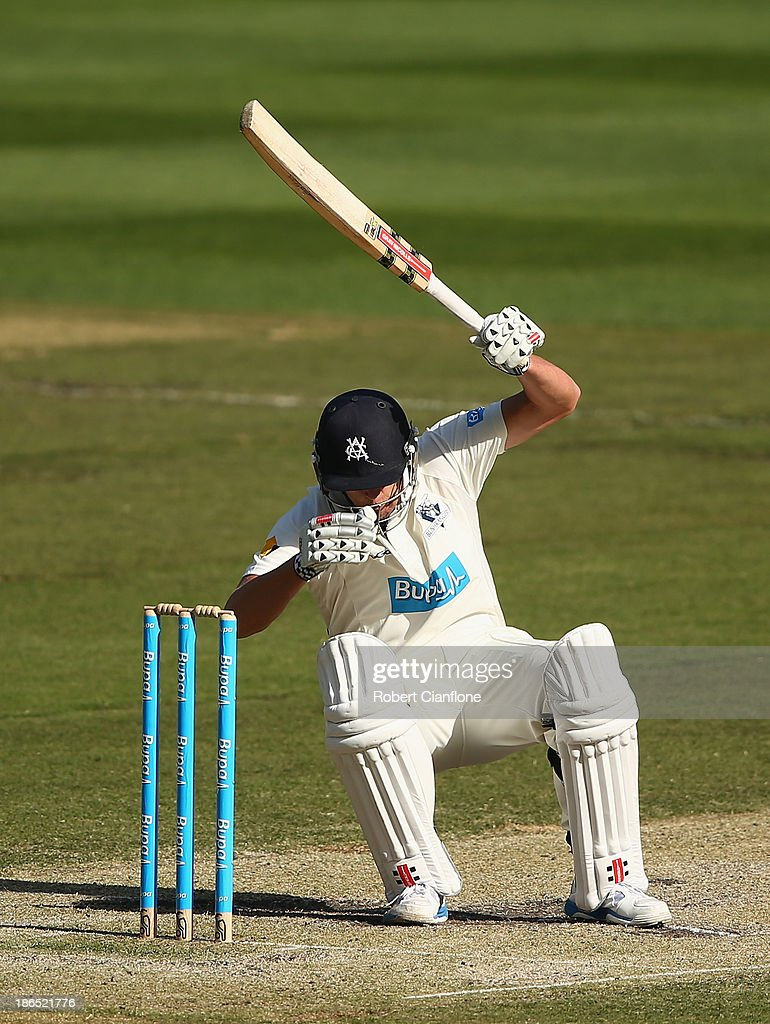 Cameron White of the Bushrangers avoids a rising delivery during day three of the Sheffield Shield match between the Victoria Bushrangers and the Western Australia Warriors at Melbourne Cricket Ground on November 1, 2013 in Melbourne, Australia.