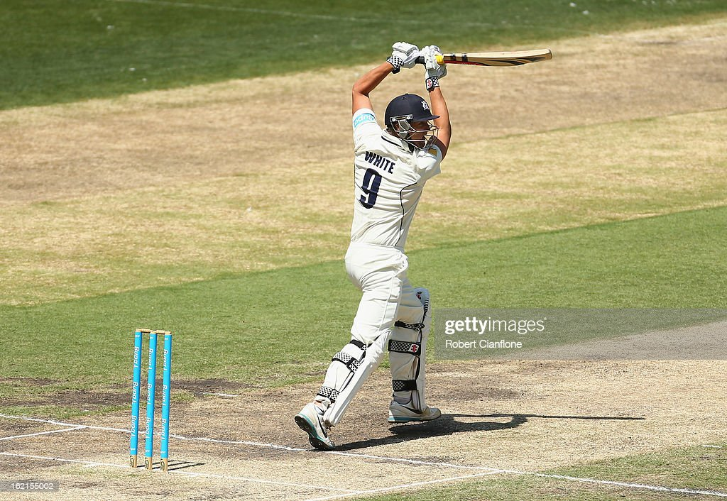 Cameron White of the Bushrangers bats during day three of the Sheffield Shield match between the Victorian Bushrangers and Queensland Bulls at the Melbourne Cricket Ground on February 20, 2013 in Melbourne, Australia.