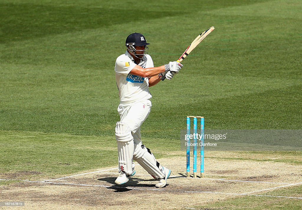 <a gi-track='captionPersonalityLinkClicked' href=/galleries/search?phrase=Cameron+White&family=editorial&specificpeople=178931 ng-click='$event.stopPropagation()'>Cameron White</a> of the Bushrangers bats during day three of the Sheffield Shield match between the Victorian Bushrangers and Queensland Bulls at the Melbourne Cricket Ground on February 20, 2013 in Melbourne, Australia.
