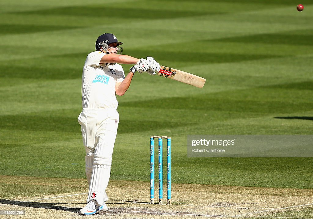 <a gi-track='captionPersonalityLinkClicked' href=/galleries/search?phrase=Cameron+White&family=editorial&specificpeople=178931 ng-click='$event.stopPropagation()'>Cameron White</a> of the Bushrangers bats during day three of the Sheffield Shield match between the Victoria Bushrangers and the Western Australia Warriors at Melbourne Cricket Ground on November 1, 2013 in Melbourne, Australia.