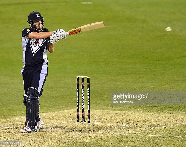 Cameron White of the Bushrangers bats during the Matador BBQs One Day Cup match between Victoria and South Australia at The Gabba on October 6 2014...