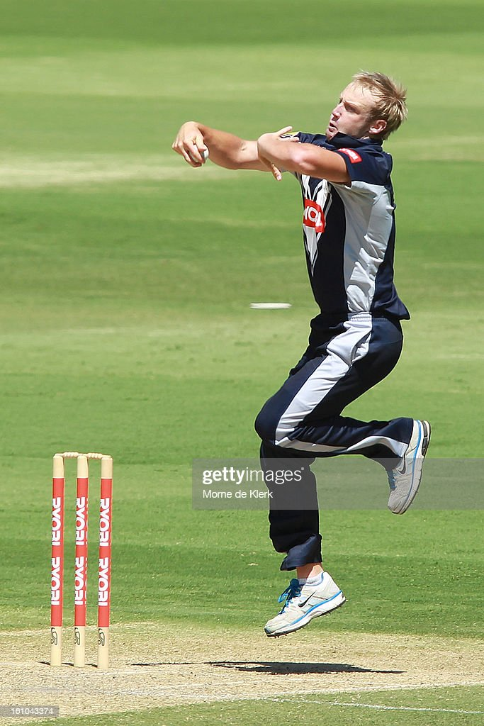 Cameron White of the Bushrangers bowls during the Ryobi One Cup Day match between the South Australian Redbacks and the Victorian Bushrangers at Adelaide Oval on February 9, 2013 in Adelaide, Australia.