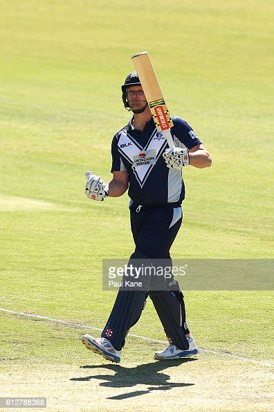 Cameron White of the Bushrangers celebrates after scoring his century during the Matador BBQs One Day Cup match between South Australia and Victoria...