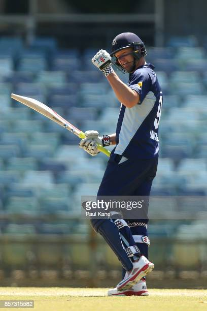 Cameron White of the Bushrangers celebrates his century during the JLT One Day Cup match between Victoria and Tasmania at WACA on October 4 2017 in...