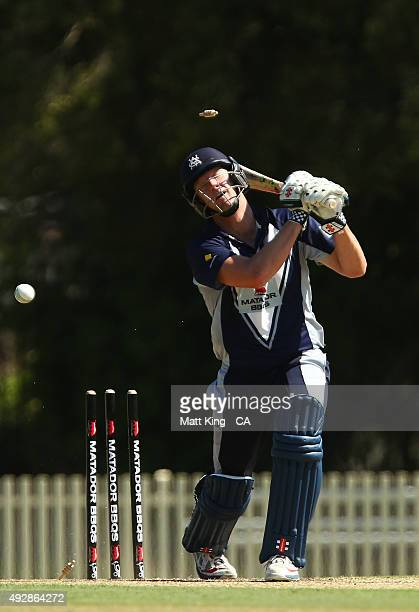 Cameron White of the Bushrangers is bowled by Daniel Worrall of the Redbacks during the Matador BBQs One Day Cup match between Victoria and South...