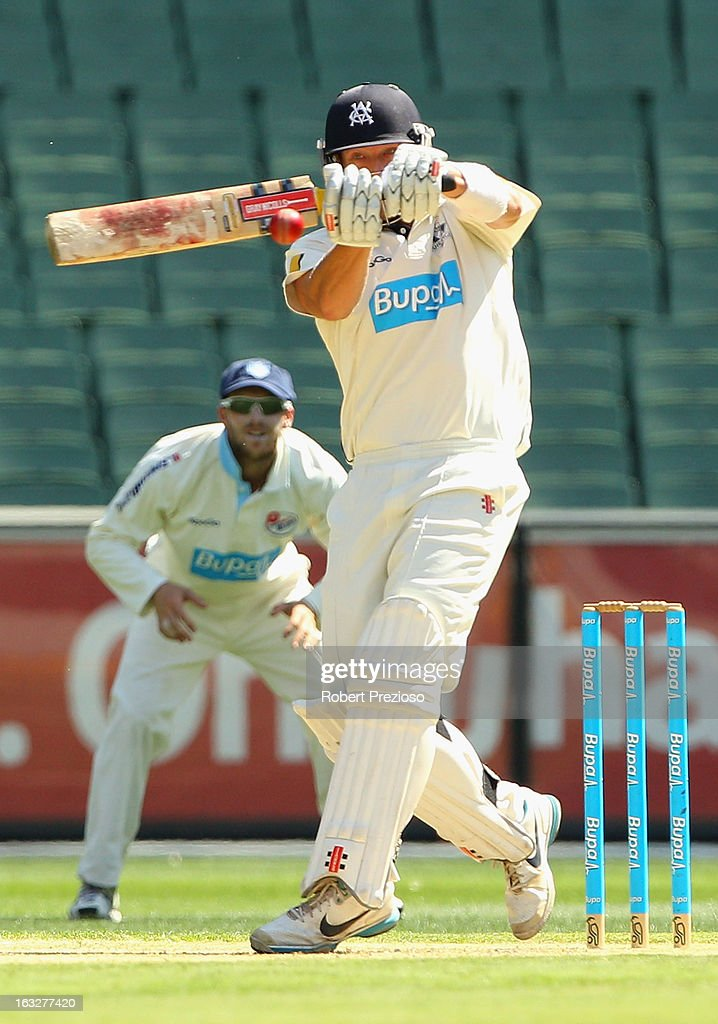 Cameron White of the Bushrangers plays a shot during day one of the Sheffield Shield match between the Victorian Bushrangers and the New South Wales Blues at Melbourne Cricket Ground on March 7, 2013 in Melbourne, Australia.