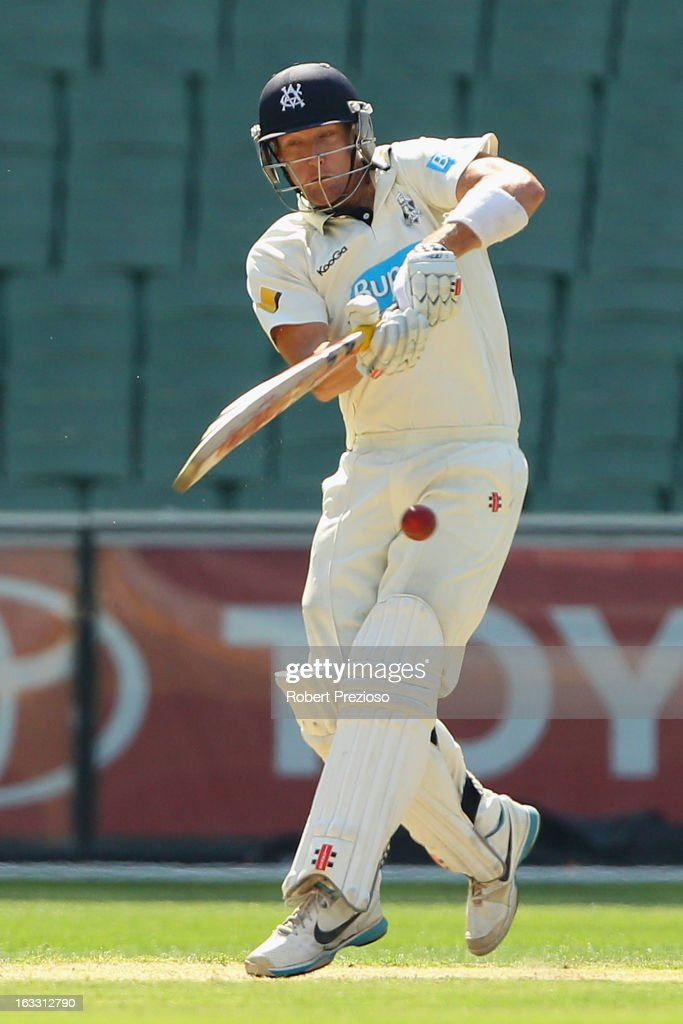 <a gi-track='captionPersonalityLinkClicked' href=/galleries/search?phrase=Cameron+White&family=editorial&specificpeople=178931 ng-click='$event.stopPropagation()'>Cameron White</a> of the Bushrangers plays a shot during day two of the Sheffield Shield match between the Victorian Bushrangers and the New South Wales Blues at Melbourne Cricket Ground on March 8, 2013 in Melbourne, Australia.