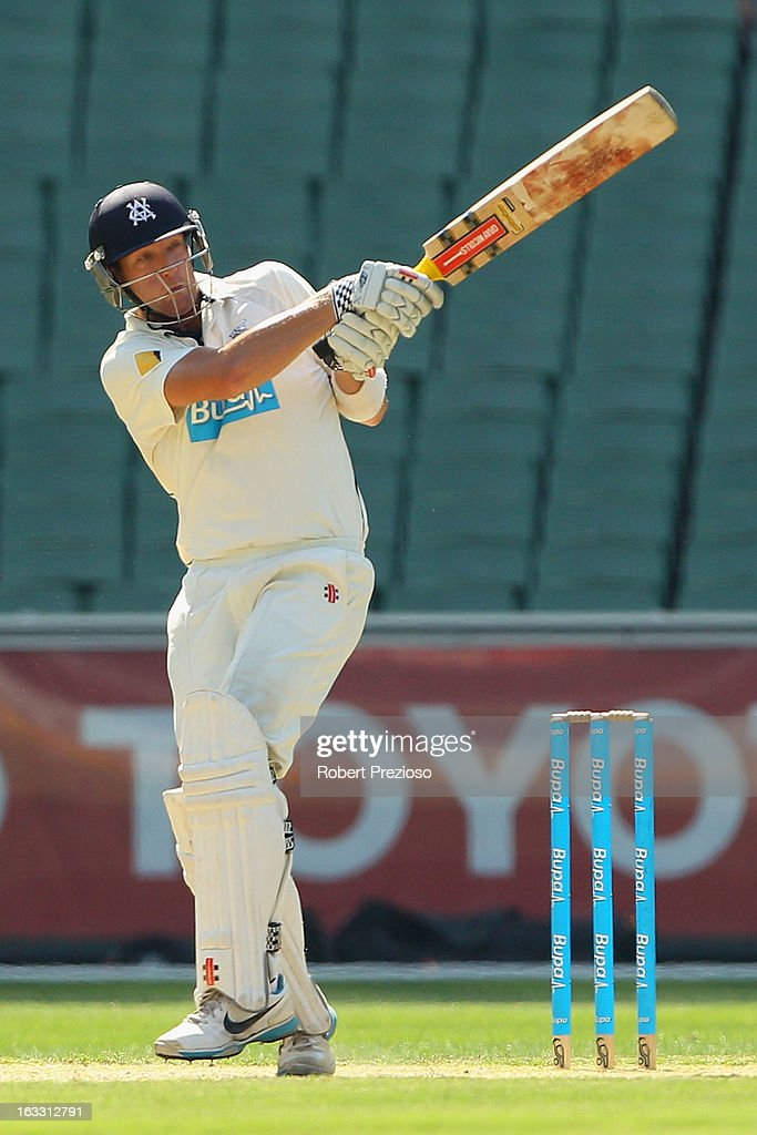 Cameron White of the Bushrangers plays a shot during day two of the Sheffield Shield match between the Victorian Bushrangers and the New South Wales Blues at Melbourne Cricket Ground on March 8, 2013 in Melbourne, Australia.