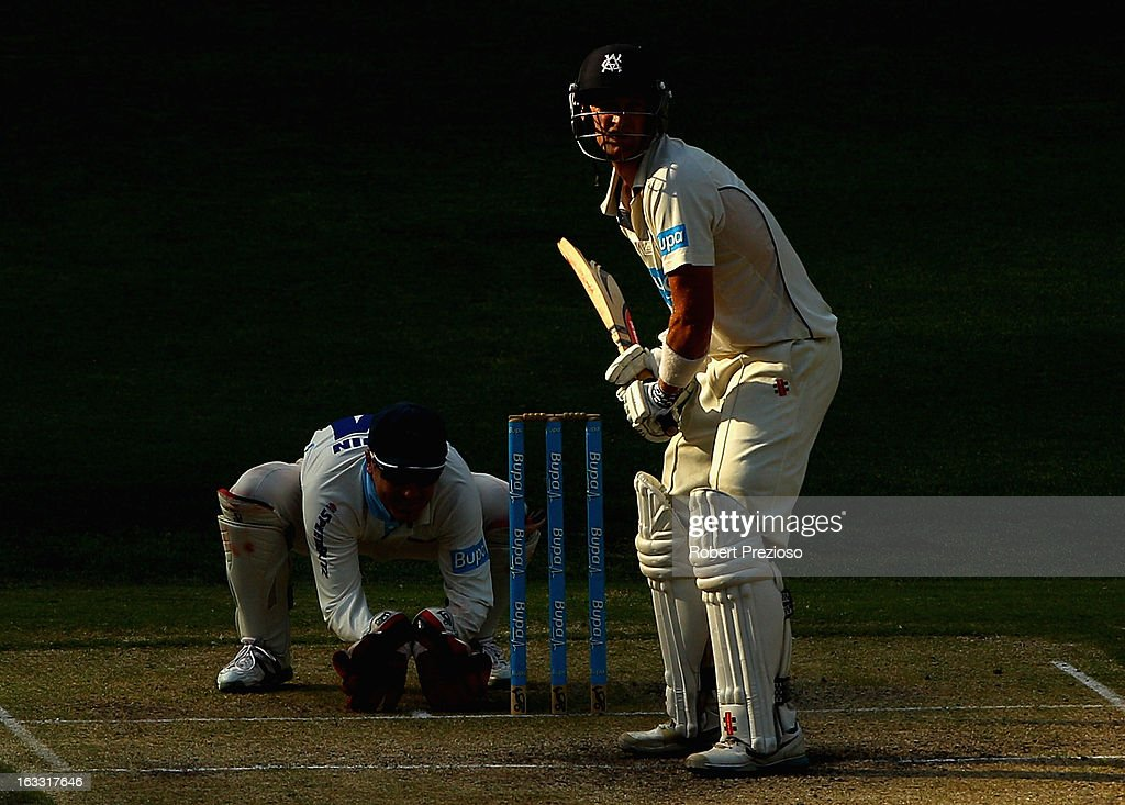 <a gi-track='captionPersonalityLinkClicked' href=/galleries/search?phrase=Cameron+White&family=editorial&specificpeople=178931 ng-click='$event.stopPropagation()'>Cameron White</a> of the Bushrangers prepares to play a shot during day two of the Sheffield Shield match between the Victorian Bushrangers and the New South Wales Blues at Melbourne Cricket Ground on March 8, 2013 in Melbourne, Australia.