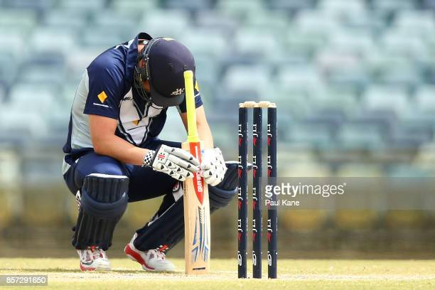 Cameron White of the Bushrangers takes a moment to compose himself after being struck by a delivery during the JLT One Day Cup match between Victoria...