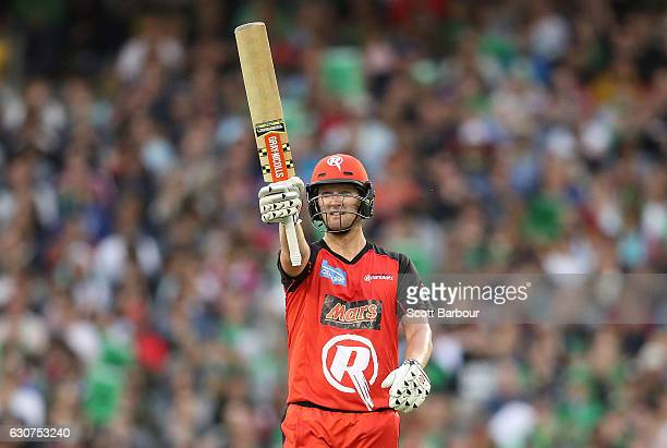 Cameron White of the Renegades celebrates as he reaches his fifty during the Big Bash League match between the Melbourne Stars and Melbourne...