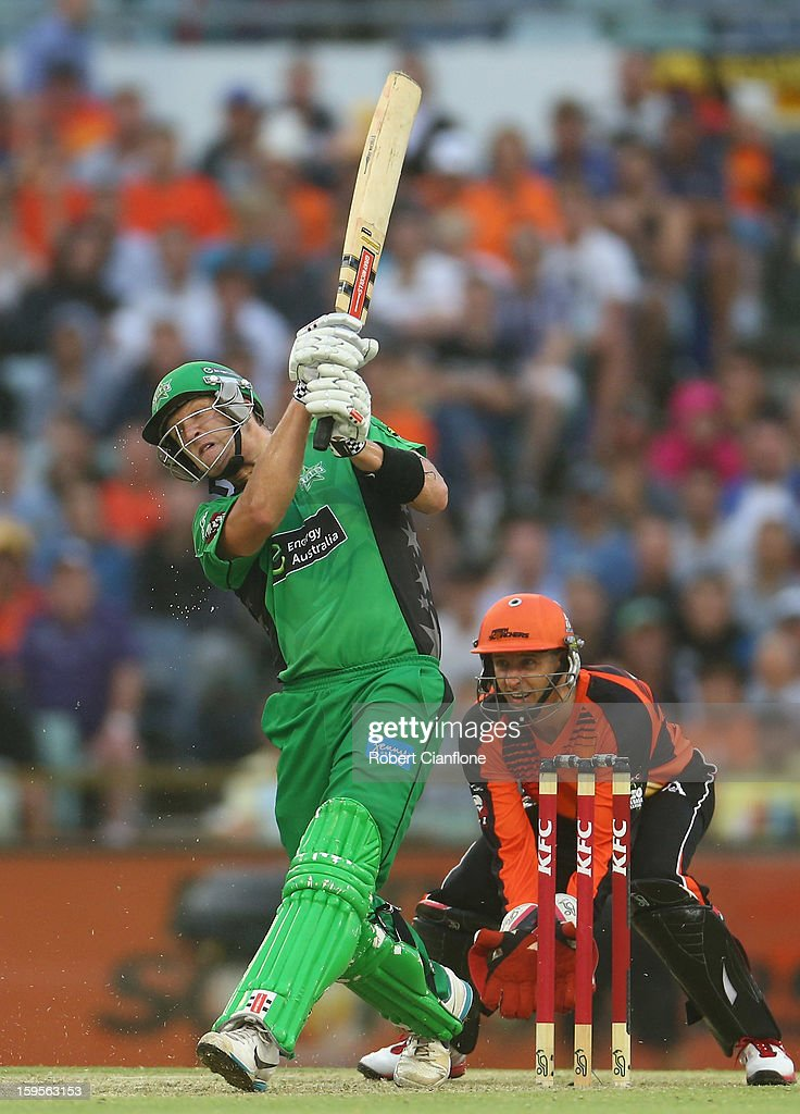<a gi-track='captionPersonalityLinkClicked' href=/galleries/search?phrase=Cameron+White&family=editorial&specificpeople=178931 ng-click='$event.stopPropagation()'>Cameron White</a> of the Stars bats during the Big Bash League semi-final match between the Perth Scorchers and the Melbourne Stars at the WACA on January 16, 2013 in Perth, Australia.