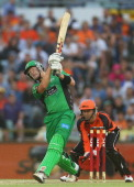 Cameron White of the Stars bats during the Big Bash League semifinal match between the Perth Scorchers and the Melbourne Stars at the WACA on January...