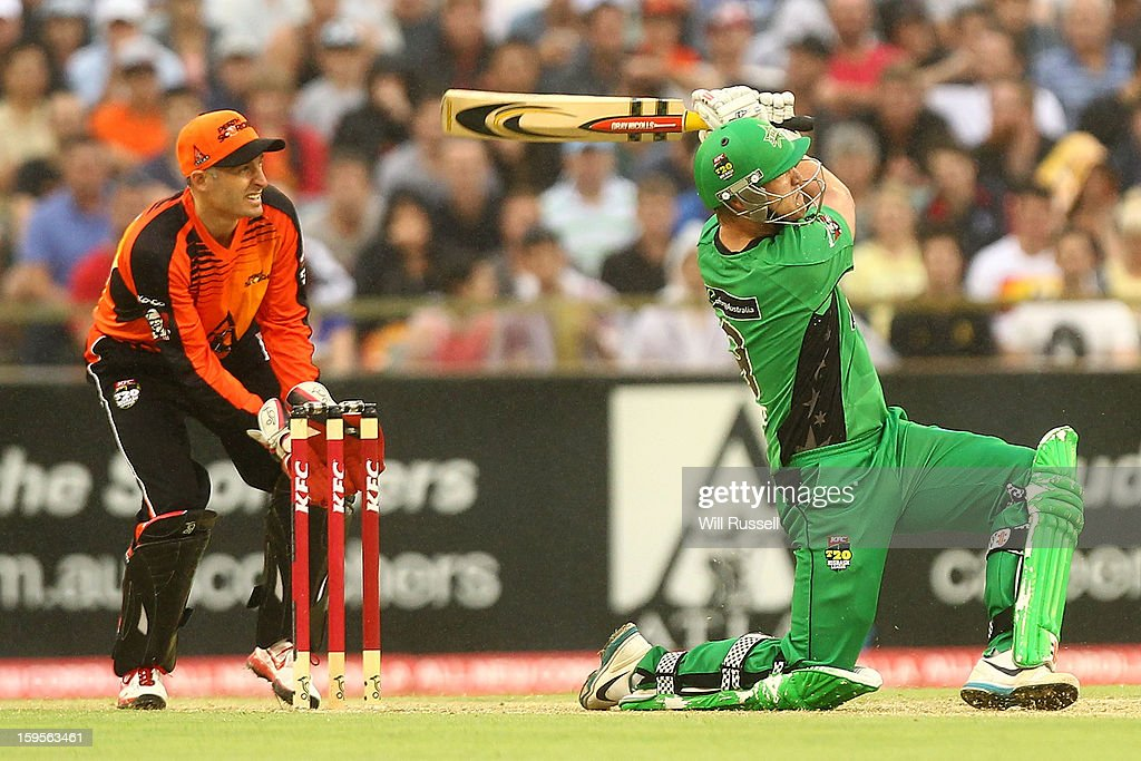 Cameron White of the Stars hits a boundary during the Big Bash League semi-final match between the Perth Scorchers and the Melbourne Stars at the WACA on January 16, 2013 in Perth, Australia.