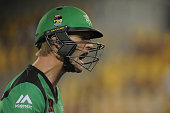 Cameron White of the Stars reacts after being dismissed during the Big Bash League match between the Brisbane Heat and the Melbourne Stars at The...