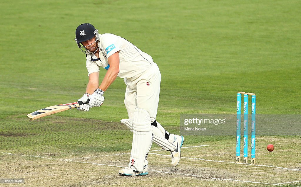 <a gi-track='captionPersonalityLinkClicked' href=/galleries/search?phrase=Cameron+White&family=editorial&specificpeople=178931 ng-click='$event.stopPropagation()'>Cameron White</a> of Victoria bats during day two of the Sheffield Shield match between the Tasmania Tigers and the Victoria Bushrangers at Blundstone Arena on March 15, 2013 in Hobart, Australia.