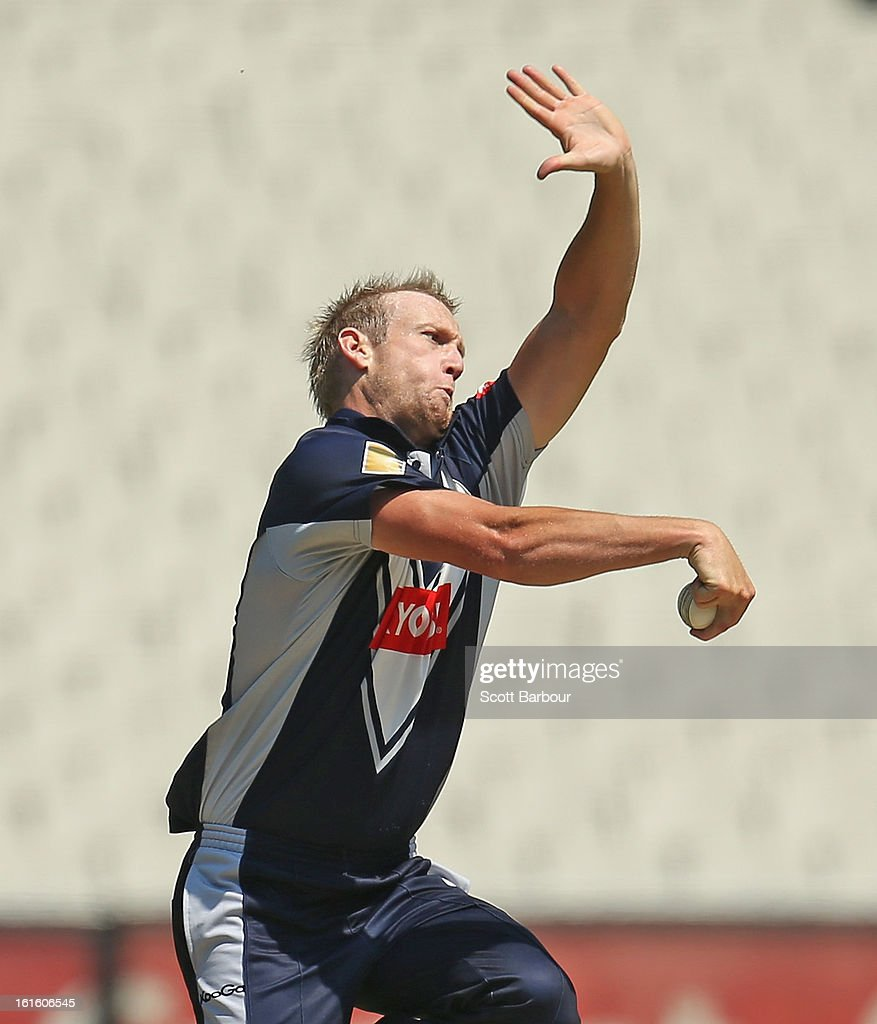 Cameron White of Victoria bowls during the international tour match between Victoria and the England Lions at the Melbourne Cricket Ground on February 13, 2013 in Melbourne, Australia.