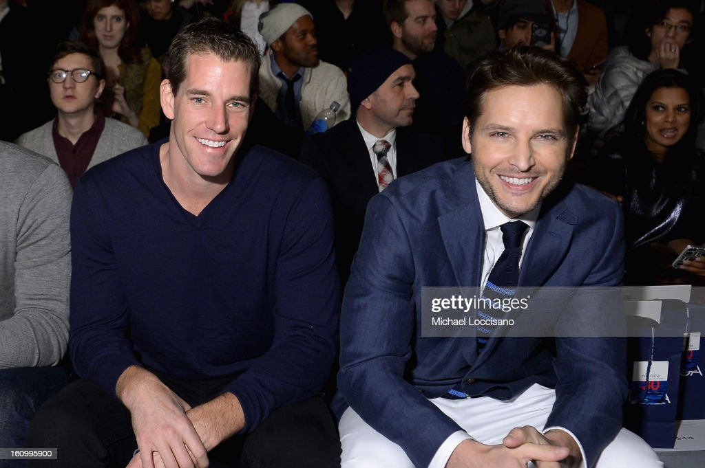 Cameron Winklevoss and actor <a gi-track='captionPersonalityLinkClicked' href=/galleries/search?phrase=Peter+Facinelli&family=editorial&specificpeople=233464 ng-click='$event.stopPropagation()'>Peter Facinelli</a> attend the Nautica Men's Fall 2013 fashion show during Mercedes-Benz Fashion Week at The Stage at Lincoln Center on February 8, 2013 in New York City.