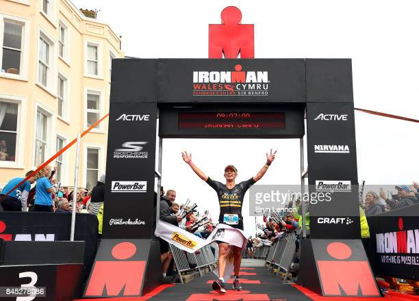 Cameron Wurf of Australia crosses the line to win IRONMAN Wales on September 10 2017 in Tenby Wales