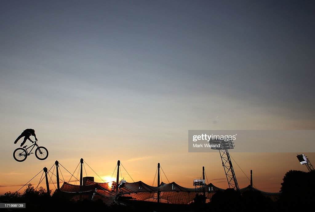 Cameron Zink of the United States competes in the Mountain Bike Slopestyle competition at Munich Olympic Park on Day 4 of the X-Games on June 30, 2013 in Munich, Germany.