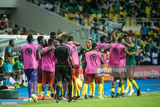 Cameroon celebrating after scoring during first half at African Cup of Nations 2017 between Burkina Faso and Cameroon at Stade de lAmitié Sino...