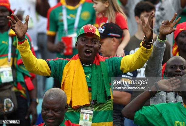 Cameroon fan enjoys the match atmosphere prior to the FIFA Confederations Cup Russia 2017 Group B match between Germany and Cameroon at Fisht Olympic...