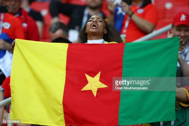 Cameroon fan holds up a Cameroon flag prior to the FIFA Confederations Cup Russia 2017 Group B match between Cameroon and Chile at Spartak Stadium on...