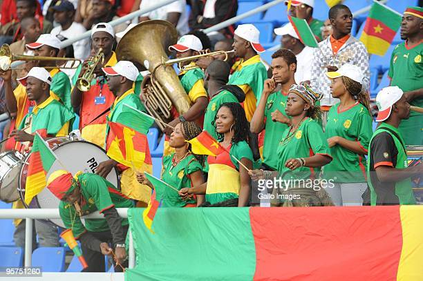 Cameroon fans attend the Africa Cup of Nations match between Cameroon and Gabon from the Alto da Chela Stadium on January 13 2010 in Lubango Angola
