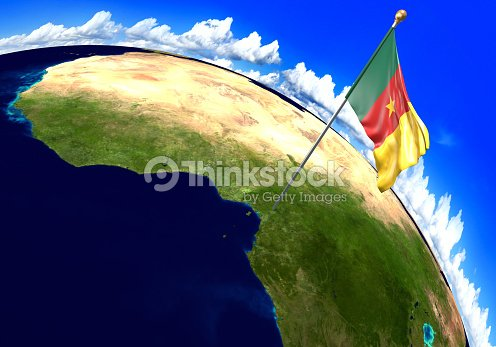 Cameroon National Flag Marking The Country Location On World Map 3d ...
