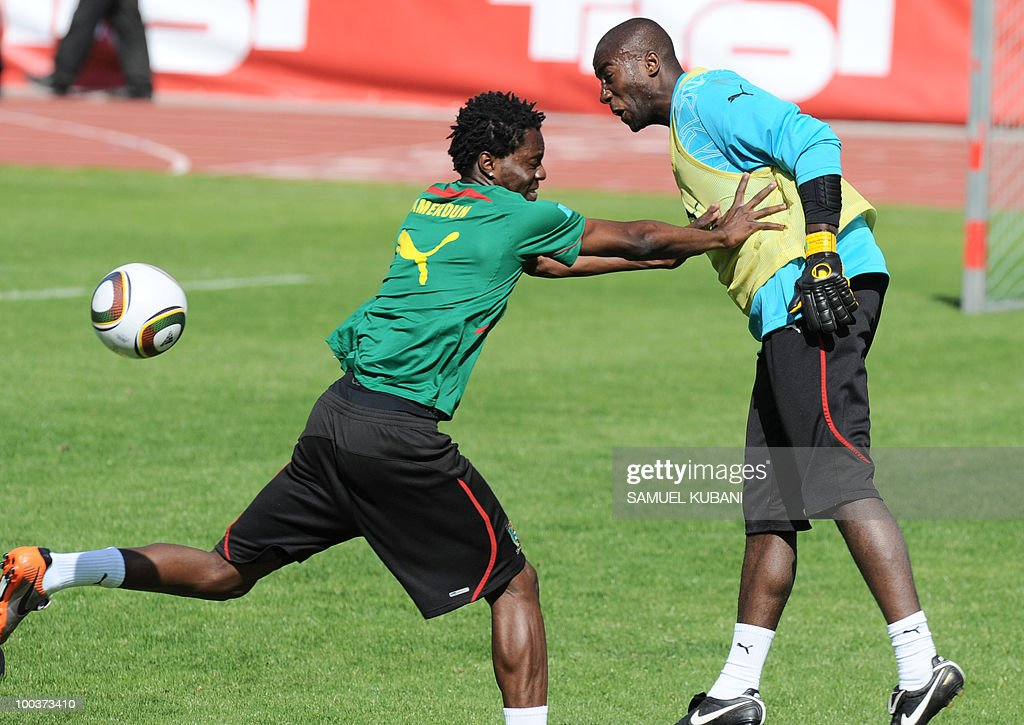 Cameroon national football team players Georges Mandjeck, (L) and Guy Roland Ndy Assembe (R) train during their practice session at their training camp in Lienz in Austria on May 24, 2010 prior to the FIFA World Cup 2010 in South Africa.