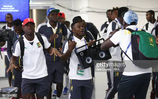 Cameroon players dance on arrival at the stadium prior to the FIFA Confederations Cup Russia 2017 Group B match between Cameroon and Chile at Spartak...