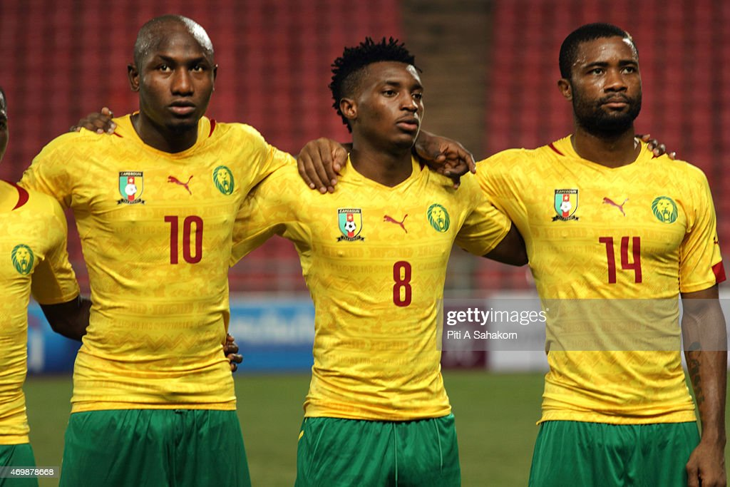 Cameroon players <a gi-track='captionPersonalityLinkClicked' href=/galleries/search?phrase=Jacques+Zoua&family=editorial&specificpeople=6346618 ng-click='$event.stopPropagation()'>Jacques Zoua</a> (L) <a gi-track='captionPersonalityLinkClicked' href=/galleries/search?phrase=Benjamin+Moukandjo&family=editorial&specificpeople=7470600 ng-click='$event.stopPropagation()'>Benjamin Moukandjo</a> (C) <a gi-track='captionPersonalityLinkClicked' href=/galleries/search?phrase=Aurelien+Chedjou&family=editorial&specificpeople=4520971 ng-click='$event.stopPropagation()'>Aurelien Chedjou</a> (R) pose for a team picture ahead of the international friendly match between Thailand and Cemeroon at Rajamangala Stadium in Bangkok. Cameroon completed their international tour with a 3-2 victory over Thailand.