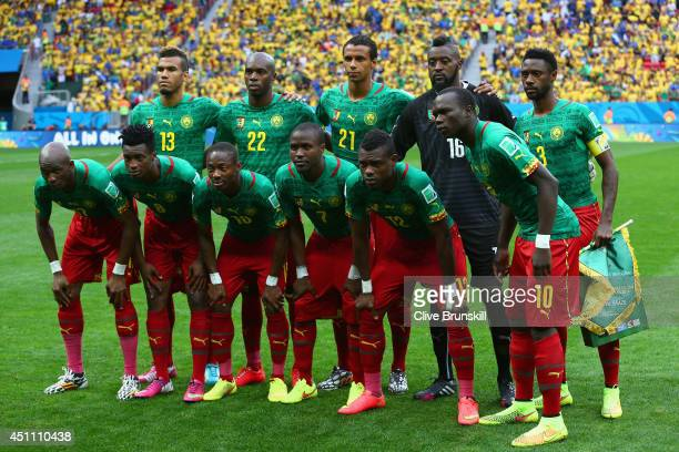 Cameroon pose for a team photo prior to the 2014 FIFA World Cup Brazil Group A match between Cameroon and Brazil at Estadio Nacional on June 23 2014...