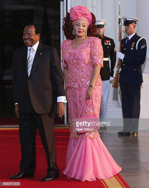 Cameroon President Paul Biya and spouse Chantal Biya arrive at the North Portico of the White House for a State Dinner on the occasion of the US...