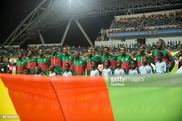 Cameroon singing national anthem at African Cup of Nations 2017 between Burkina Faso and Cameroon at Stade de lAmitié Sino stadium Libreville Gabon...