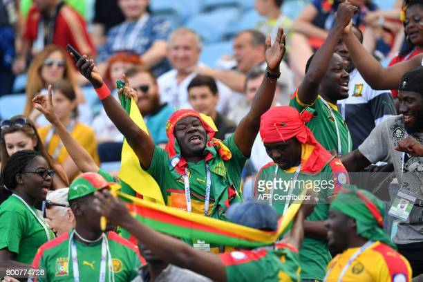 Cameroon supporters cheer during the 2017 FIFA Confederations Cup group B football match between Germany and Cameroon at the Fisht Stadium Stadium in...