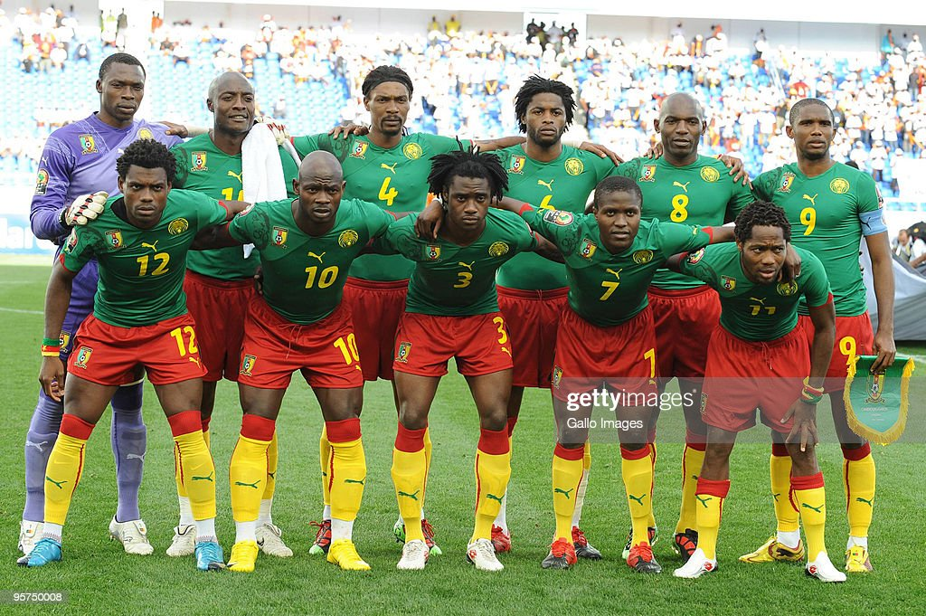 Cameroon team during the Africa Cup of Nations match between Cameroon and Gabon from the Alto da Chela Stadium on January 13 2010 in Lubango Angola...