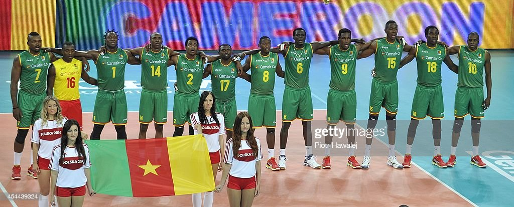 Cameroon team line up prior to the match during the FIVB World Championships match between Cameroon and Australia on August 31, 2014 in Wroclaw, Poland.