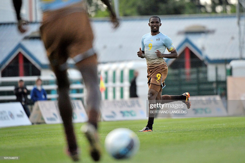 Cameroonian captain Samuel Eto'o runs as he takes part in the Africa Unity Experience football event at Michel Hidalgo stadium in Saint-Gratien, near Paris, on May 28, 2010.