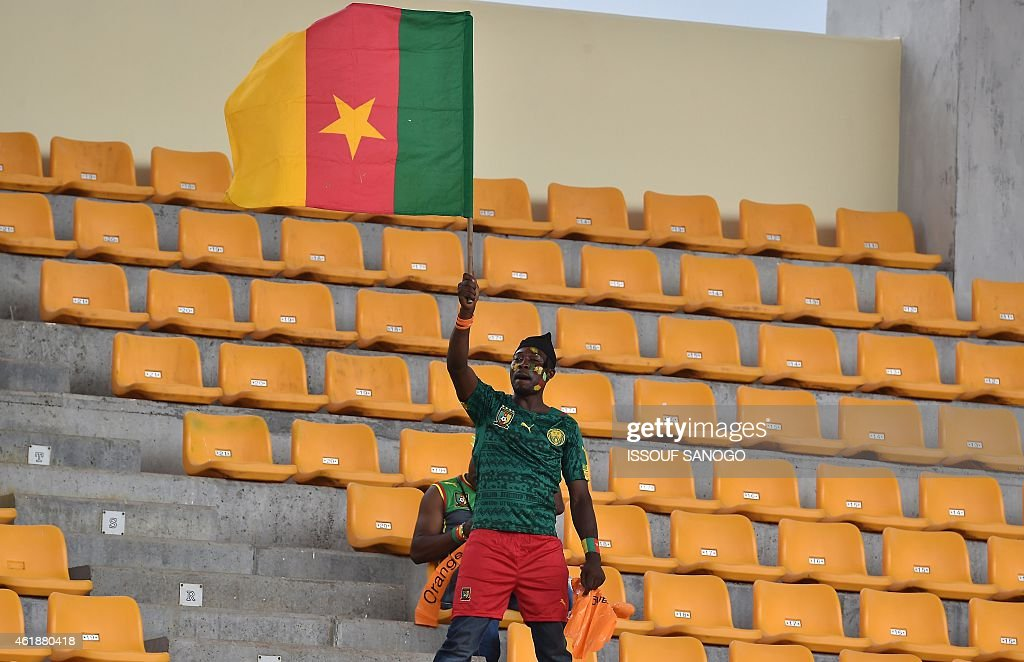 A Cameroonian fan cheers for his team during the 2015 African Cup of Nations group D football match between Mali and Cameroon in Malabo on January 20, 2015.