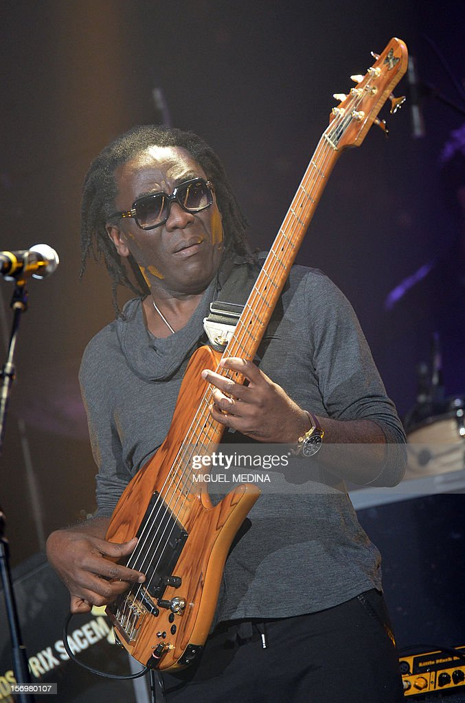 Cameroonian singer Richard Bona performs on stage after receiving 'the Grand Prix du Jazz' during the SACEM (Societe des auteurs, compositeurs et editeurs de musique) Grand Prix awards ceremony on November 26, 2012 at the Casino de Paris. Every year the SACEM Grand Prix awards identify favourites among creators from the music, entertainment and audiovisual worlds and the media.