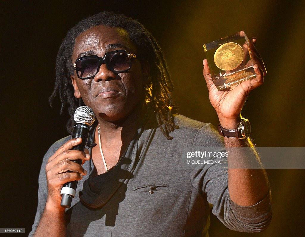 Cameroonian singer Richard Bona speaks after receiving 'the Grand Prix du Jazz' during the SACEM (Societe des auteurs, compositeurs et editeurs de musique) Grand Prix awards ceremony on November 26, 2012 at the Casino de Paris. Every year the SACEM Grand Prix awards identify favourites among creators from the music, entertainment and audiovisual worlds and the media.